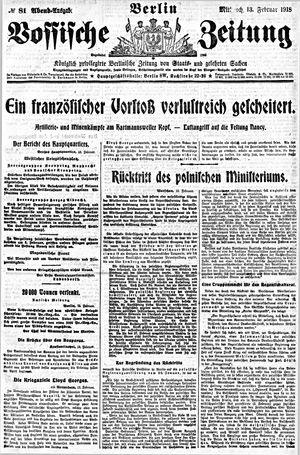 Vossische Zeitung vom 13.02.1918