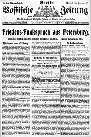Vossische Zeitung vom 20.02.1918