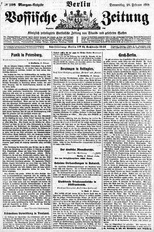 Vossische Zeitung vom 28.02.1918