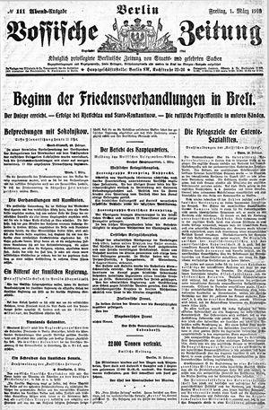 Vossische Zeitung vom 01.03.1918