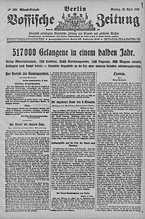 Vossische Zeitung vom 15.04.1918