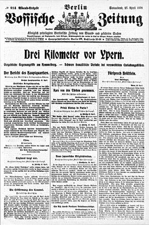 Vossische Zeitung on Apr 27, 1918