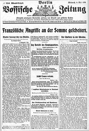 Vossische Zeitung vom 08.05.1918