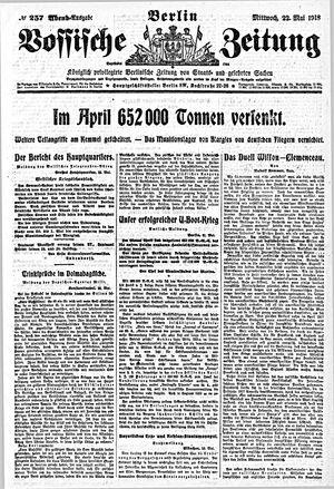 Vossische Zeitung vom 22.05.1918