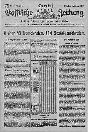 Vossische Zeitung vom 21.01.1919