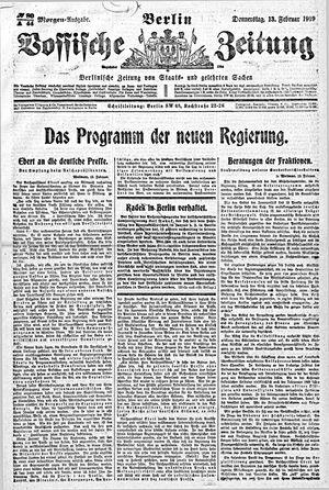 Vossische Zeitung vom 13.02.1919