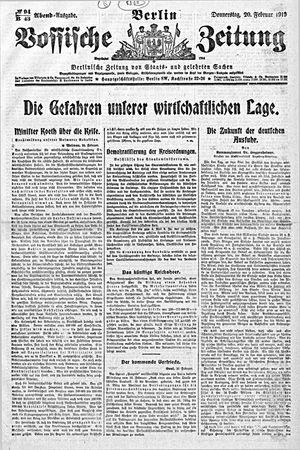Vossische Zeitung vom 20.02.1919