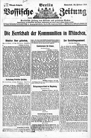 Vossische Zeitung vom 22.02.1919