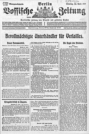 Vossische Zeitung vom 22.04.1919