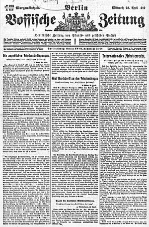 Vossische Zeitung vom 23.04.1919