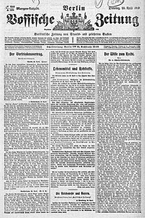 Vossische Zeitung vom 29.04.1919