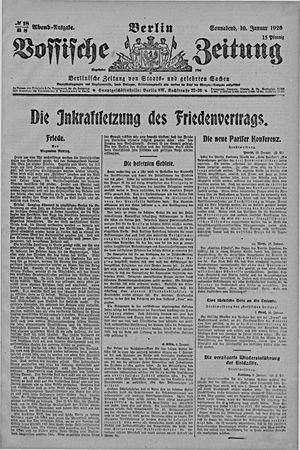 Vossische Zeitung on Jan 10, 1920