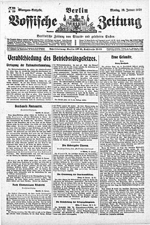 Vossische Zeitung vom 19.01.1920