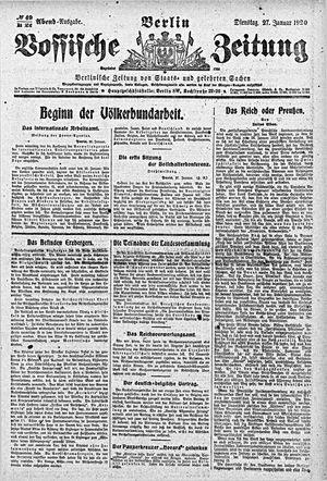 Vossische Zeitung vom 27.01.1920