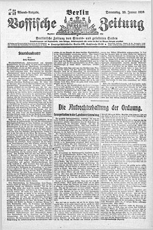 Vossische Zeitung vom 29.01.1920