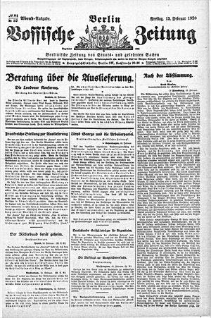 Vossische Zeitung vom 13.02.1920