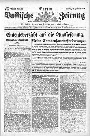 Vossische Zeitung vom 16.02.1920