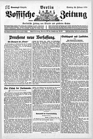 Vossische Zeitung vom 22.02.1920
