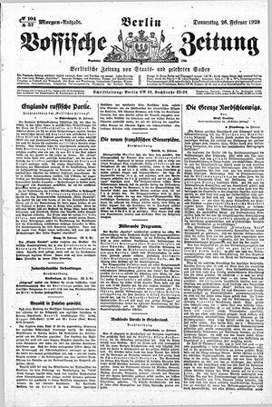 Vossische Zeitung on Feb 26, 1920