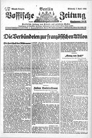 Vossische Zeitung vom 07.04.1920