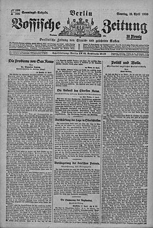 Vossische Zeitung vom 18.04.1920