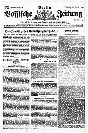 Vossische Zeitung vom 20.04.1920
