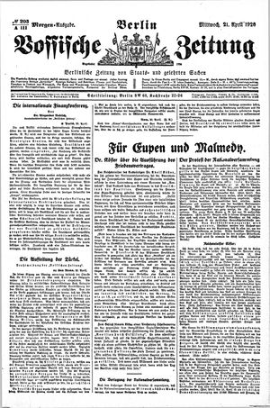 Vossische Zeitung vom 21.04.1920