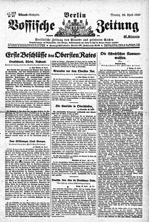 Vossische Zeitung vom 26.04.1920