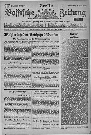 Vossische Zeitung vom 01.05.1920