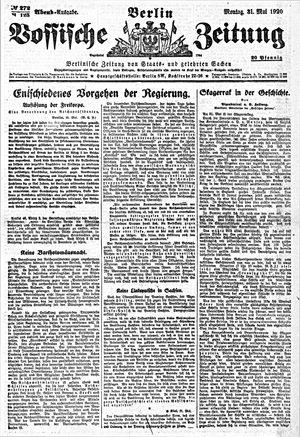 Vossische Zeitung vom 31.05.1920