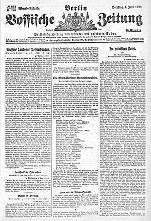 Vossische Zeitung vom 01.06.1920