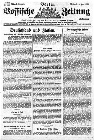 Vossische Zeitung vom 09.06.1920