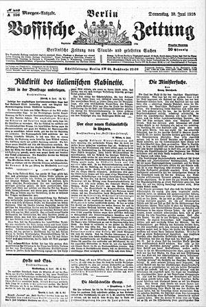Vossische Zeitung vom 10.06.1920