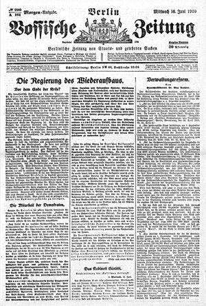 Vossische Zeitung vom 16.06.1920