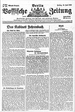 Vossische Zeitung vom 18.06.1920