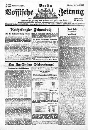 Vossische Zeitung vom 21.06.1920