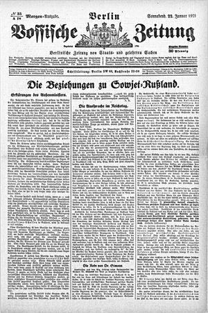 Vossische Zeitung vom 22.01.1921