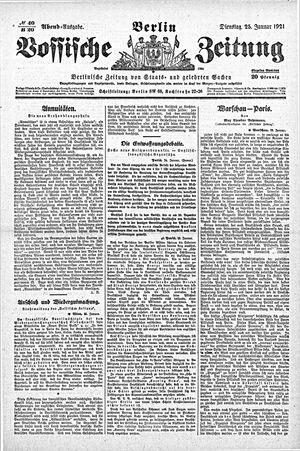 Vossische Zeitung vom 25.01.1921