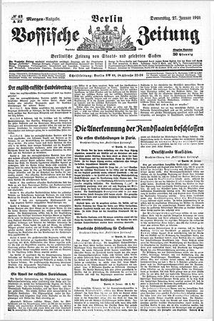 Vossische Zeitung vom 27.01.1921