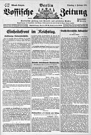 Vossische Zeitung vom 01.02.1921