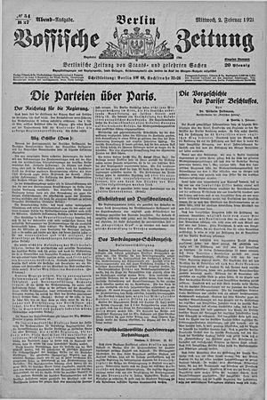 Vossische Zeitung vom 02.02.1921