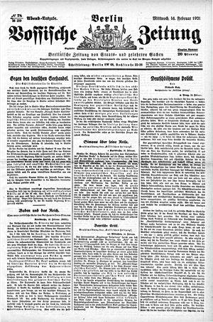 Vossische Zeitung vom 16.02.1921