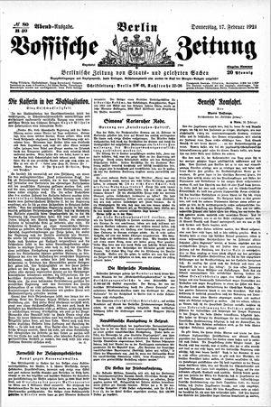 Vossische Zeitung vom 17.02.1921