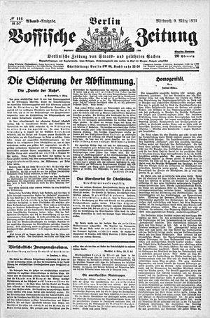 Vossische Zeitung vom 09.03.1921