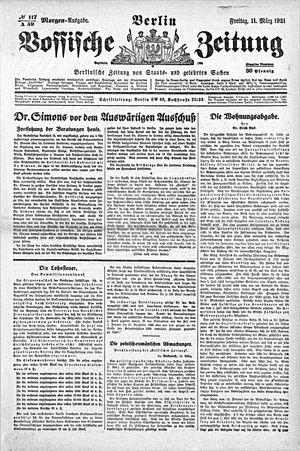 Vossische Zeitung vom 11.03.1921