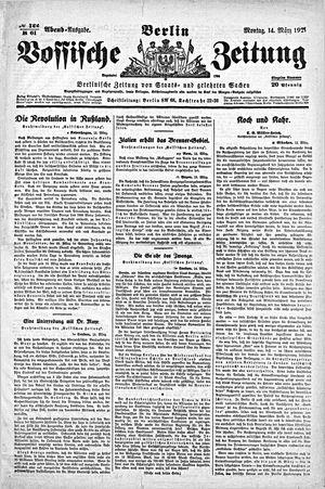 Vossische Zeitung vom 14.03.1921