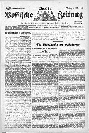 Vossische Zeitung vom 15.03.1921