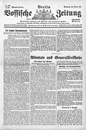 Vossische Zeitung on Mar 23, 1921
