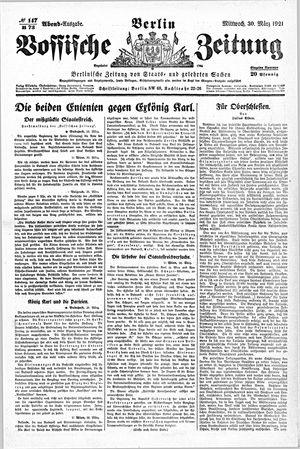 Vossische Zeitung vom 30.03.1921