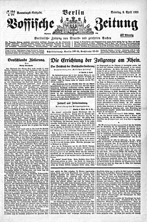 Vossische Zeitung vom 03.04.1921